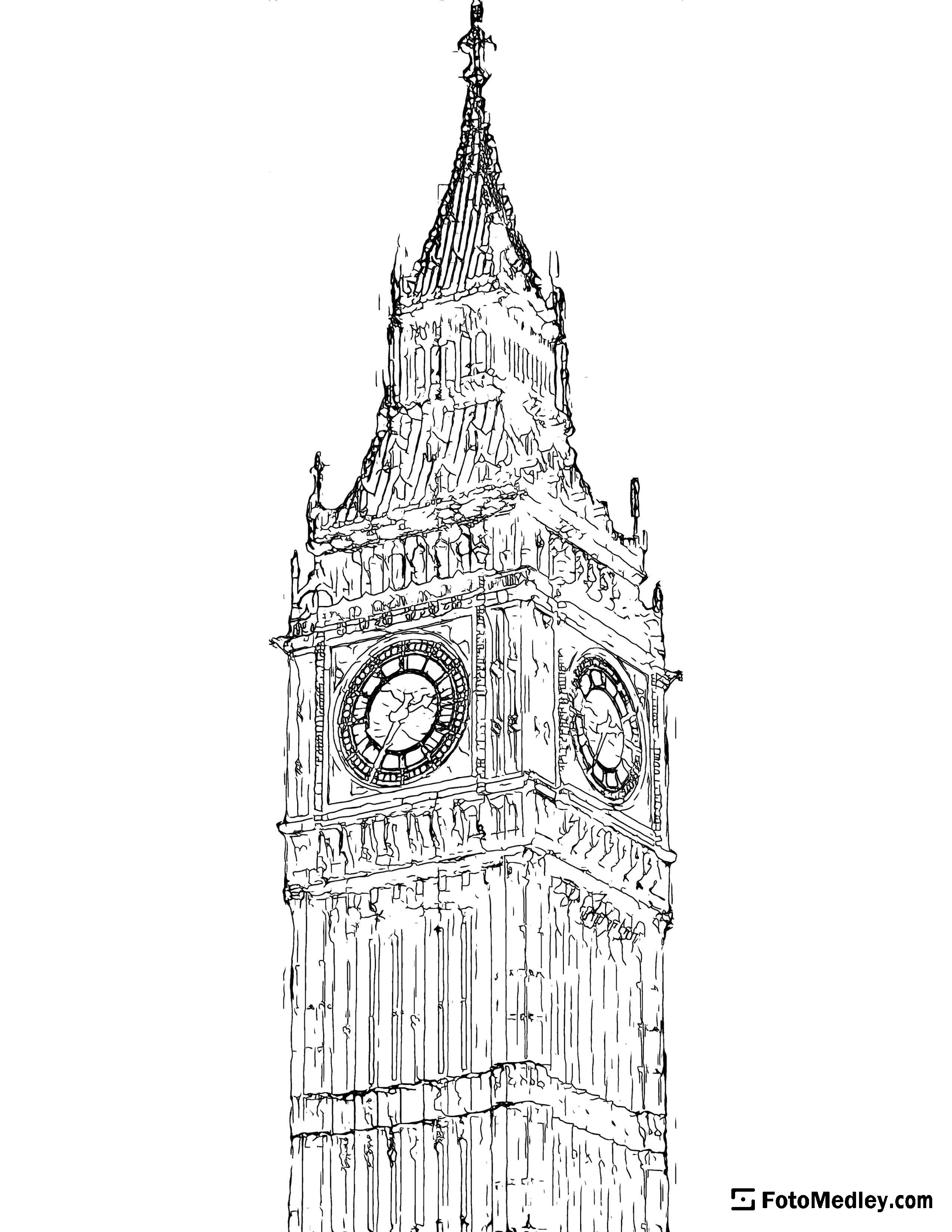 A detailed coloring page of a the Elizabeth Tower clock of the Palace of Westminster, containing the Big Ben bell.
