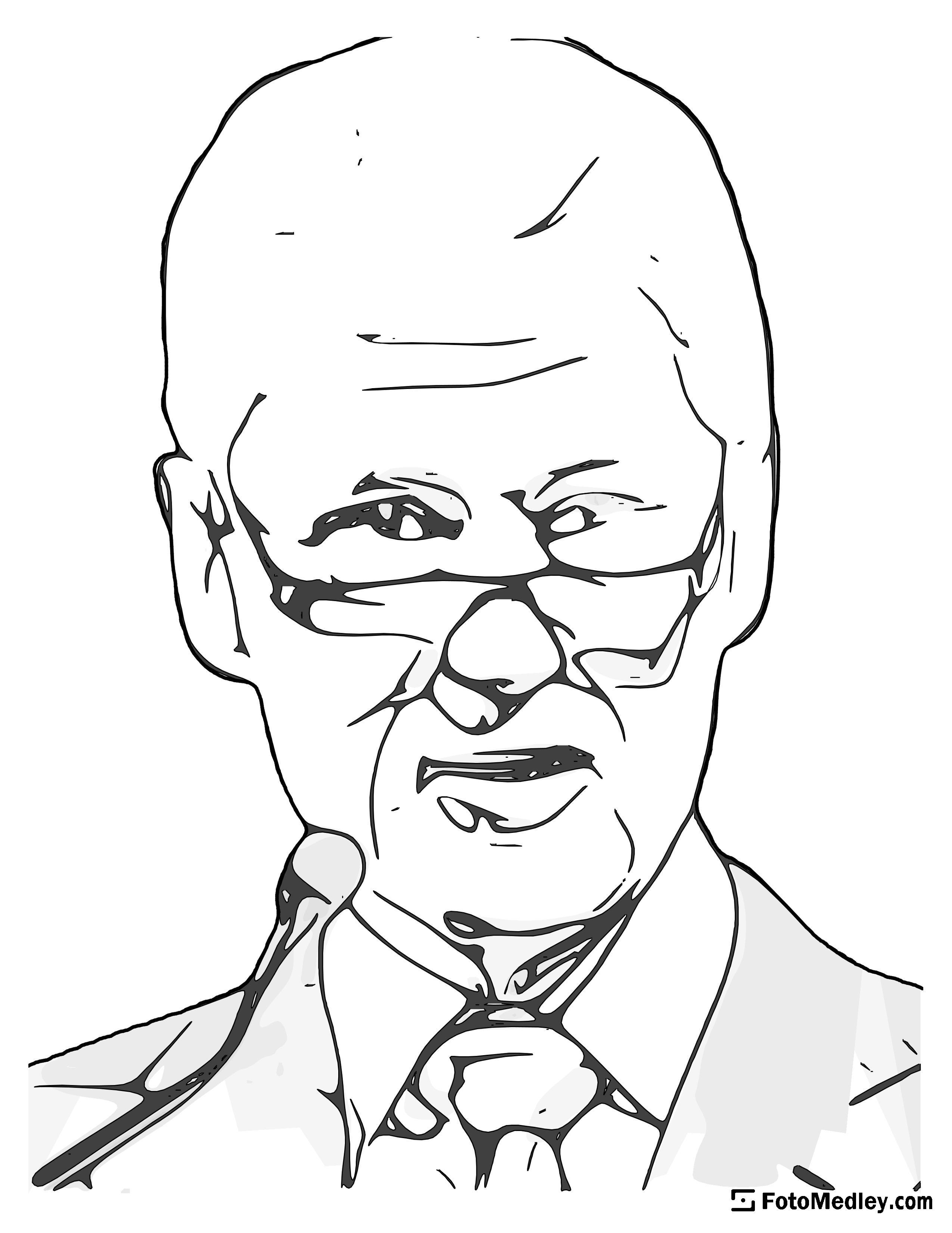 A cartoon style coloring sketch of William J. Clinton, 42nd President of the United States.