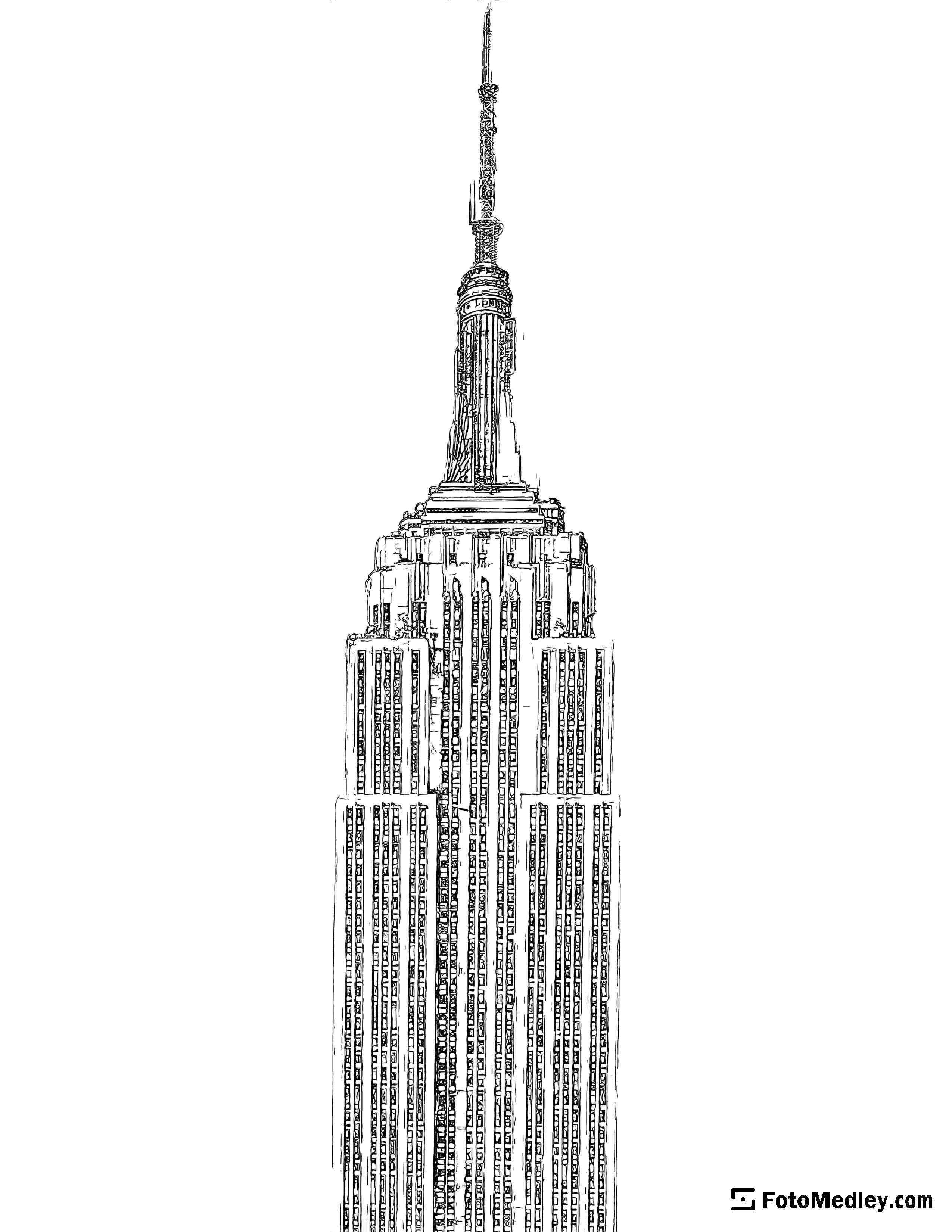 A detailed coloring page of the top portion of the Empire State Building.