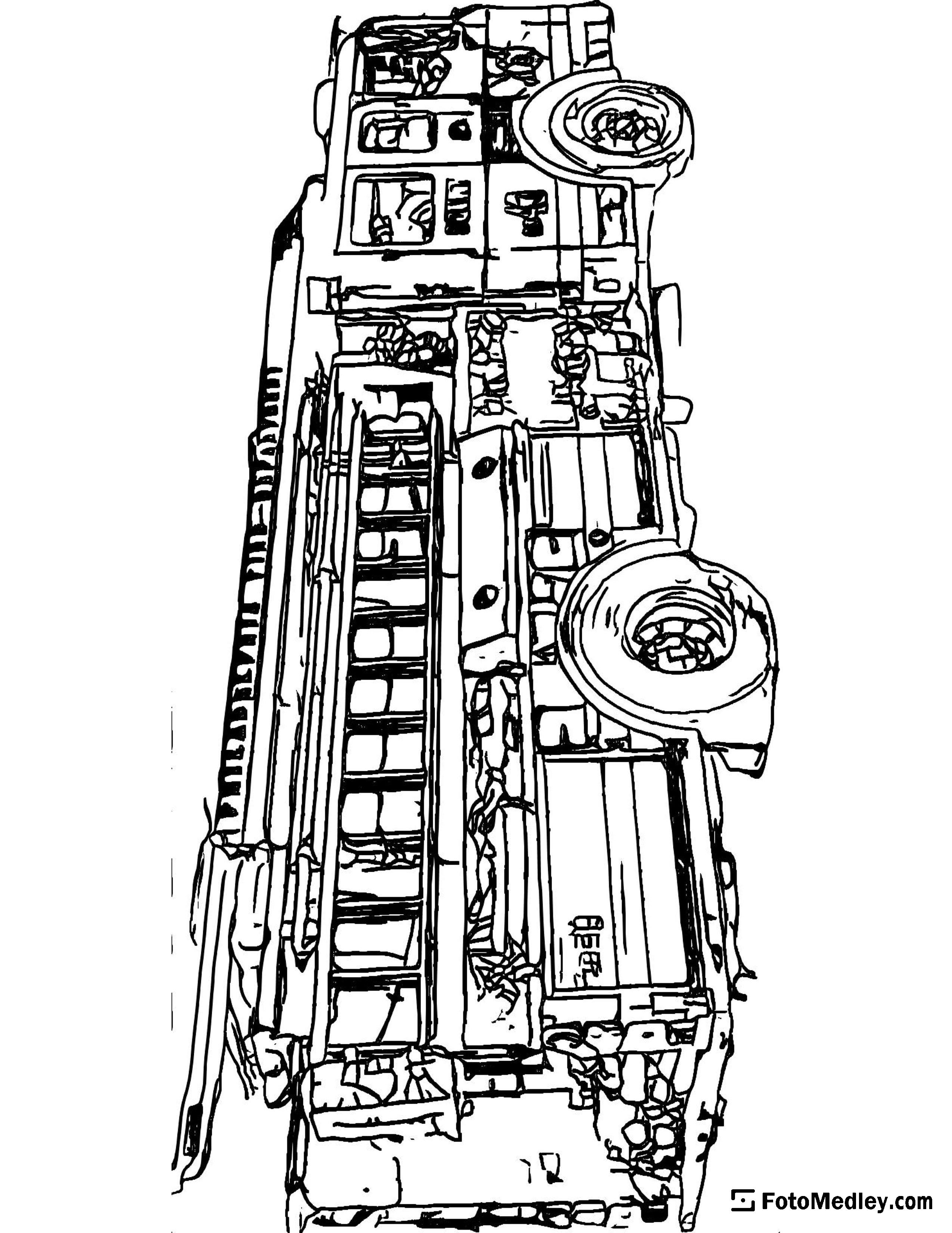 Fun free coloring page of fire truck