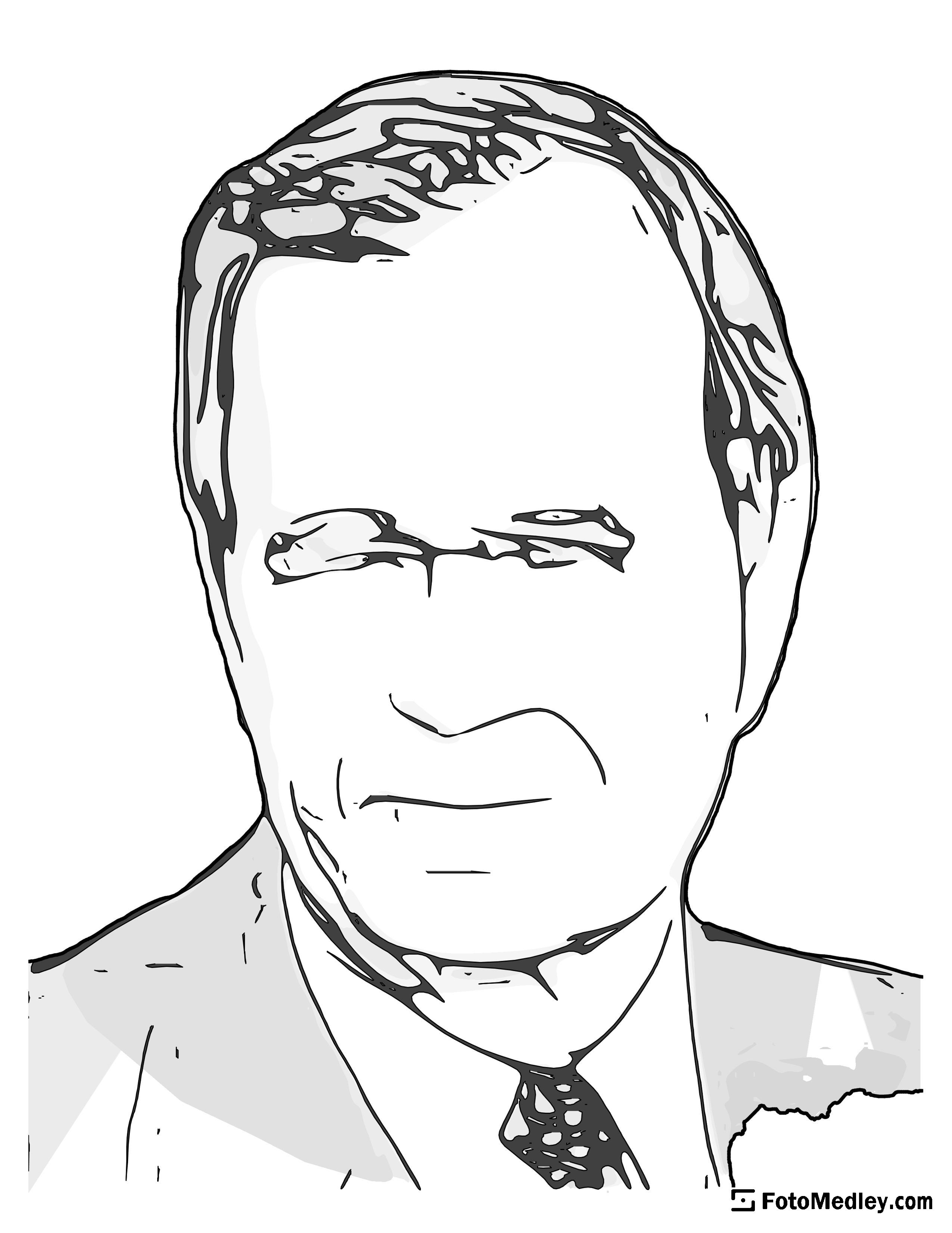 A cartoon style coloring sketch of George H. W. Bush, 41st President of the United States.