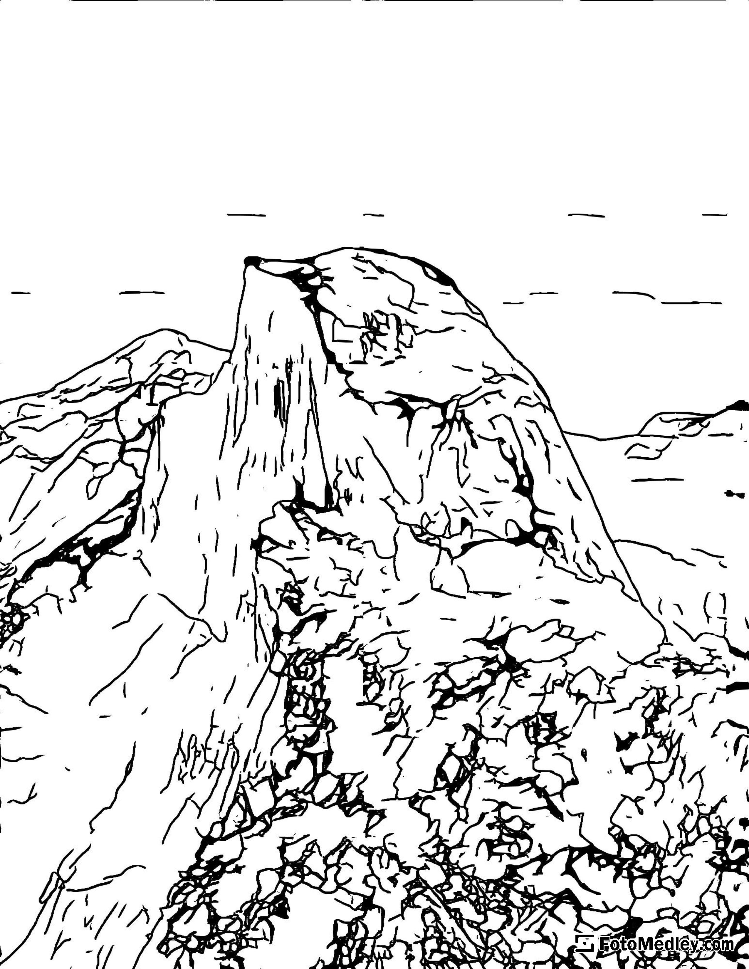 A coloring page of the iconic Half Dome of Yosemite Valley.