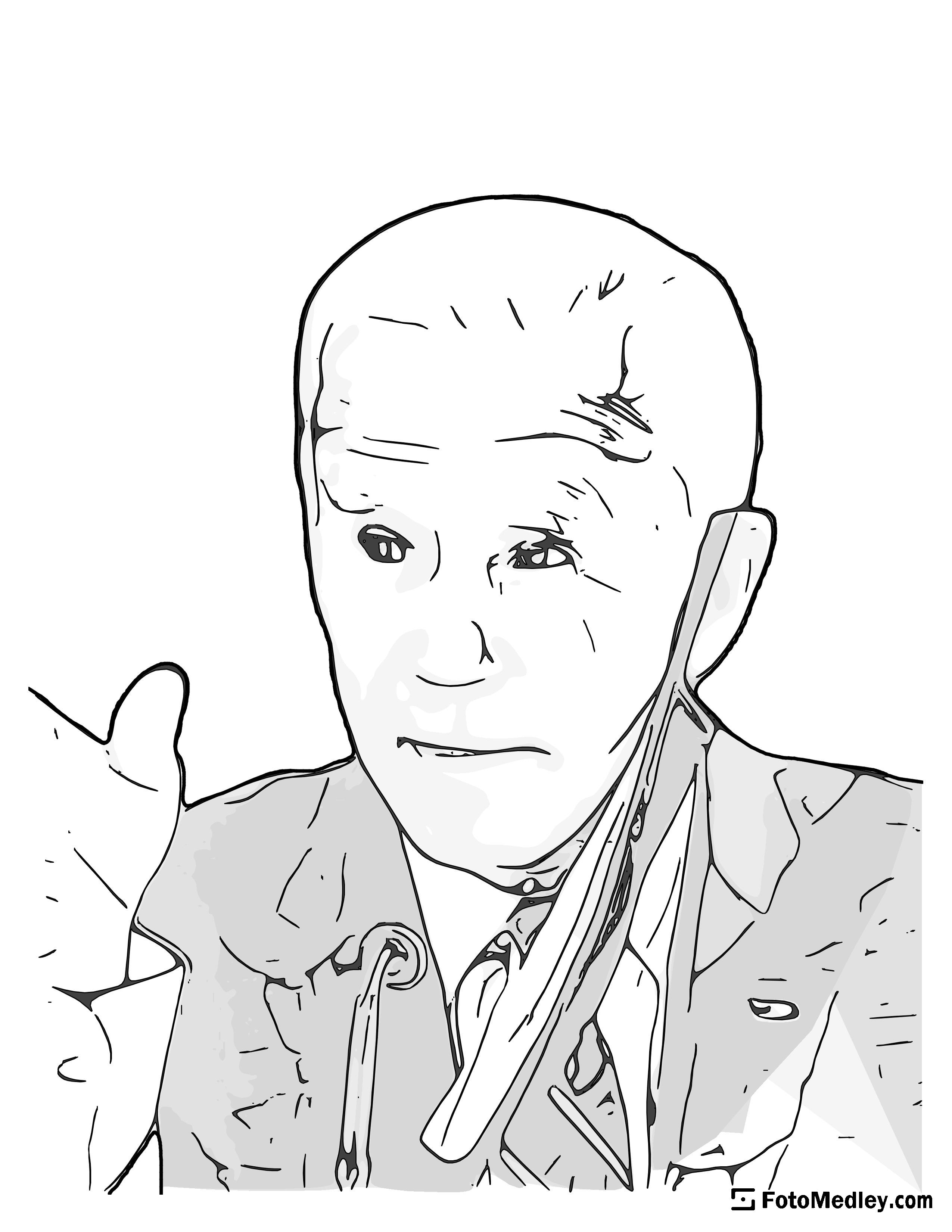 A cartoon style coloring sketch of Joseph R. Biden, 46th President of the United States. He is seen partially wearing a mask during the COVID-19 pandemic.