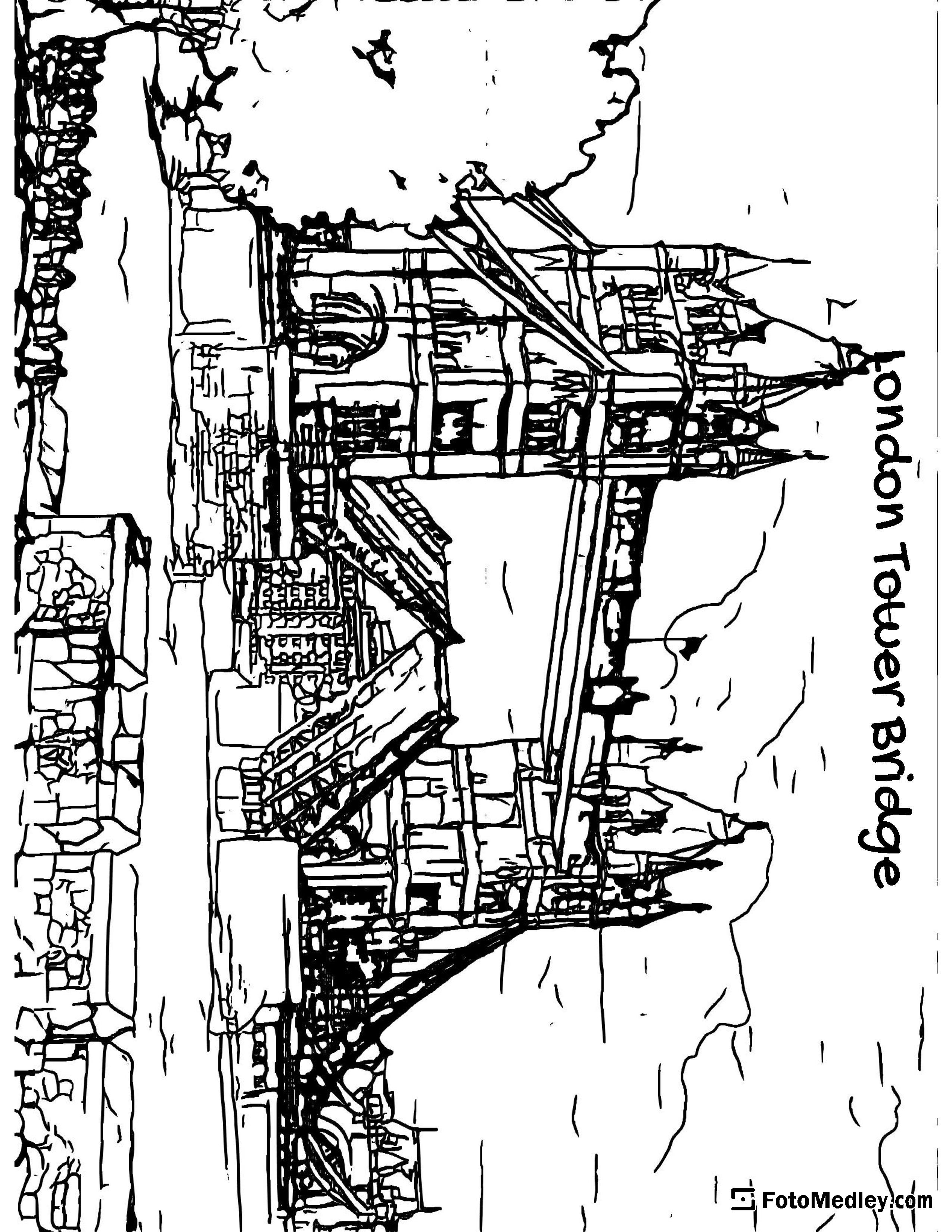 A coloring page of the Tower Bridge in London over the River Thames, with the drawbridge up.