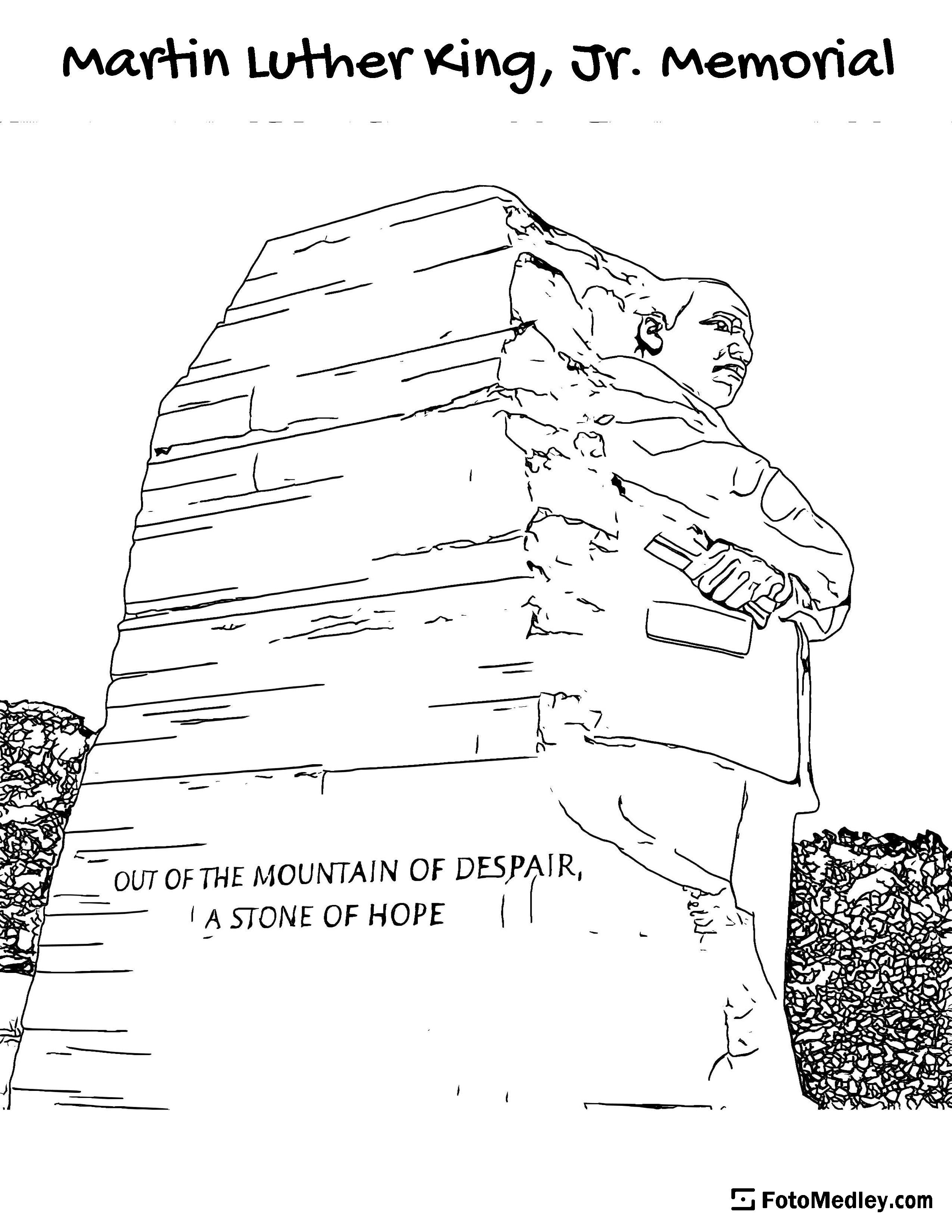 A coloring page of the Martin Luther King, Jr. Memorial in Washington D.C. Including the quote: 'OUT OF THE MOUNTAIN OF DESPAIR, A STONE OF HOPE'.