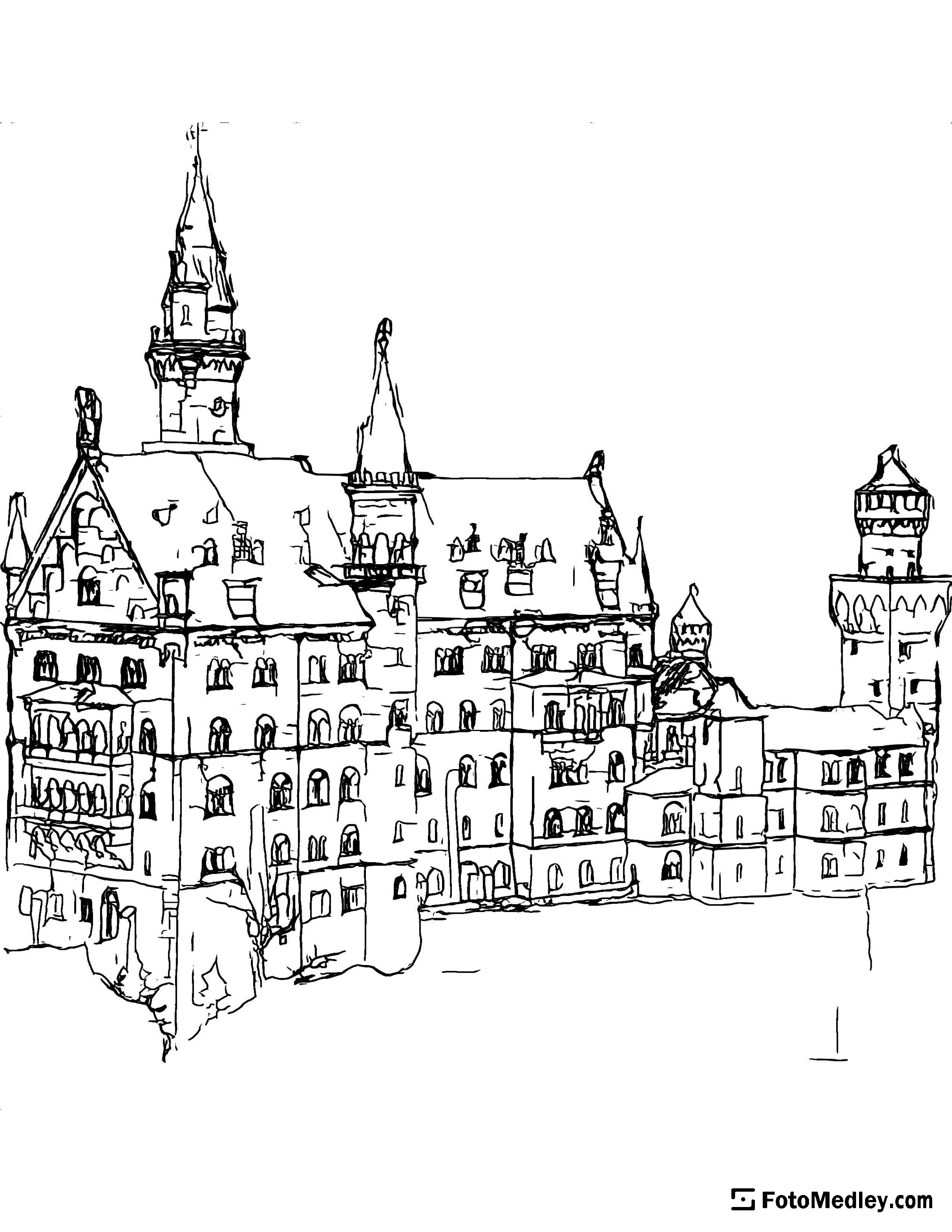 A coloring page of Neuschwanstein Castle in Germany.