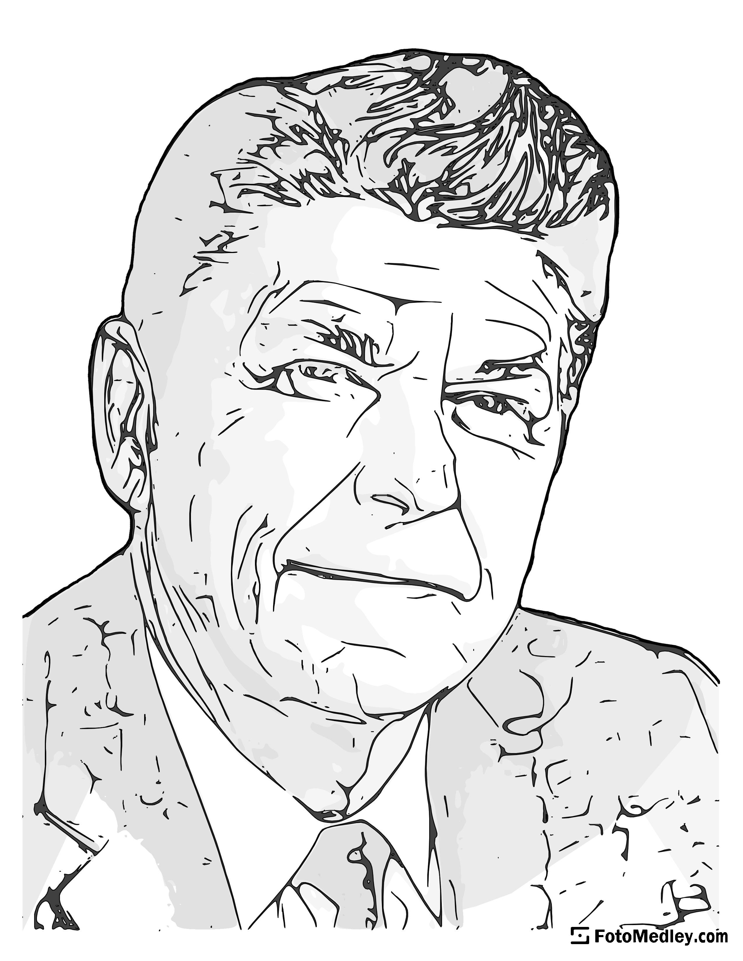 A cartoon style coloring sketch of Ronald Reagan, 40th President of the United States.