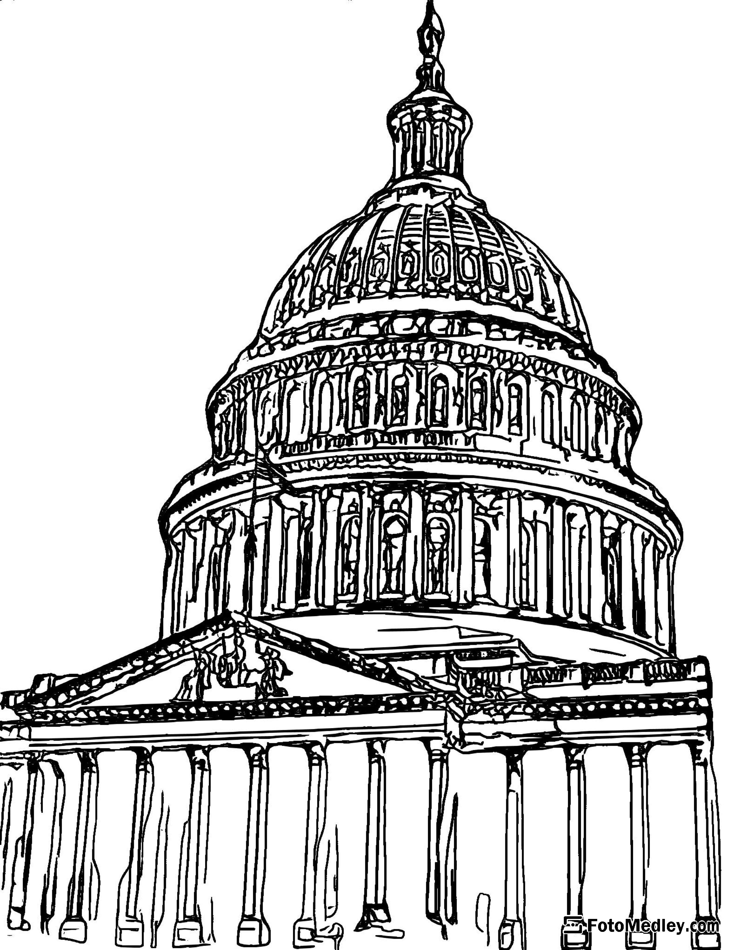 A coloring page of the United States Capitol dome and exterior columns.